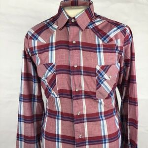Open Range by Karman Mens Red Pearl Snap Size 16